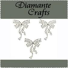 3 x 36mm Clear Diamante Bows Self Adhesive Rhinestone Vajazzle Body Art Gems