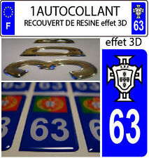 1 sticker plaque immatriculation AUTO TUNING 3D RESINE  FPF PORTUGAL DEPA 63