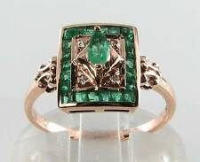 LOVELY 9CT ROSE GOLD COLOMBIAN EMERALD DIAMOND ART DECO INS RING FREE RESIZE