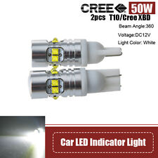 2X 50W CREE XBD T10 168 LED Panel Bulb wedge Indicator Light Lamps White W5W 921