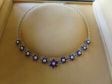 Stunning 29 ct Amethyst and Diamond Flower Necklace Rhodium Plated