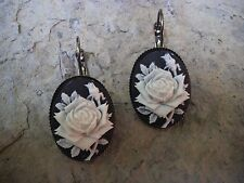 ROSE CAMEO LEVER BACK FRENCH EARRINGS!! WONDERFUL QUALITY!!!! GIFTS