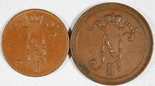 Finland - Russian Finland - Two Coins - 1916 5 Pennia and 1905 10 Pennia - XF!!