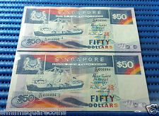 Singapore Ship Series $50 Note C/45 606994-606995 Run 2X Dollar Note Currency