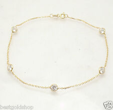 "10"" CZ by the Yard Style Bezet Set Anklet Bracelet 14K Yellow Gold Clad Silver"