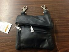 LARGE PLAIN MOTORCYCLE RIDER LEATHER CLIP ON PURSE BAG