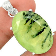 Faceted Prehnite 925 Sterling Silver Pendant Jewelry PNFP27