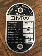 VINTAGE BMW FRAME I.D. TAG FOR R25/3