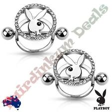 Pair Of Silver Ion Plated Genuine Playboy Bunny with Paved CZ Nipple Shield
