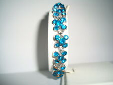 Turquoise diamante flower silver tone link costume jewellery SMALL bracelet