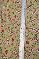 2 Yards  Daisy Kingdom Garden Spring Cotton Fabric Vegetable Fruit Accent Green