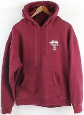 Stussy Worldwide Men's USA Logo Burdundy Fleece Hoodie Sweater Size M Medium