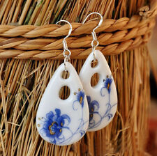 Chinese Style Ceramics Blue and White Porcelain Waterdrop Earring for Women