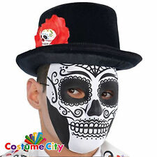 Adults Mens Mexican Day Of The Dead Top Hat Fancy Dress Costume Accessory