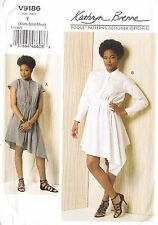 Vogue Designer Dress Diagonal Detail Shaped Hem (Xsm-Med) Sewing Pattern