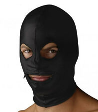 Strict Leather SPANDEX ZIPPER MOUTH EYE 3 Hole Opening HOOD balaclava mask BLACK