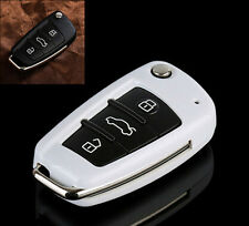 White Flip Key Cover Holder For Audi TT A3 A4 A6 Q7 R8 RS4 S6 Remote Fob Shell