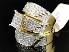 Mens Ladies Yellow Gold Diamond Engagement Bridal Wedding Ring Trio Set 1.24 Ct