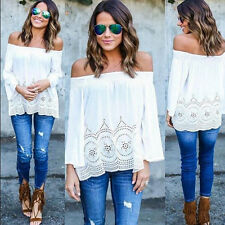 Boho Womens Off Shoulder Boat Neck Shirts Long Sleeve T-shirt Loose Blouse Tee