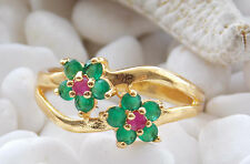 c172 Size 8 Fashion 14K Solid gold Charm Green Emerald Jewelry Lady Ring Gift
