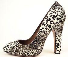 ALAIA Black & Ivory White Leopard Fur Calfhair Pony Pump Heels 40.5 10 US $1535