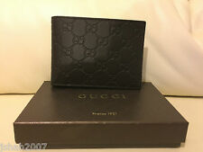 Mens Gucci Double G Logo Guccisima Leather Wallet Chocolate Brown NEW **LOOK**