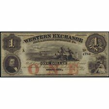 CIVIL WAR NEBRASKA OMAHA CITY DOLLAR 1857 WESTERN EXCHANGE BANK SC UNC