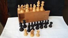 Vintage Turned Wood Chess Set with Box.  K 7.5cm  no board  wooden