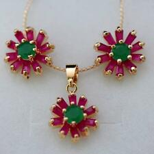 FINE! NATURAL FLOWER RED RUBY-GREEN EMERALD NECKLACE EARRING SET