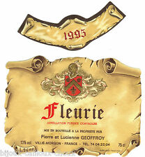étiquette de vin façon parchemin FLEURIE  1995 wine label