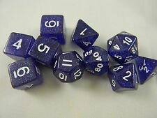 DUNGEONS & DRAGONS Blue Glitter Dice Set of 10 Role-playing Dice D&D - 10 Dice