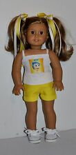"DOLL CLOTHES CUSTOM MADE FOR AMERICAN GIRL DOLL - INSIDE OUT "" JOY"" SHORTS SET"