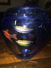 Murano Art Glass Cobalt Blue Fish Aquarium Vase