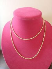 14K YELLOW GOLD DIAMOND CUT ROPE CHAIN NECKLACE 36 INCH 5.1 GRAMS NEW