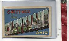 1949 vintage Linen Large Letter Greetings from Cleveland Ohio FREE SHIPPING