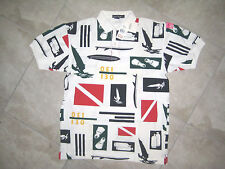 NWT Deadstock Vintage NAUTICA White Knit Polo Scuba Beach Flag Shirt USED Large