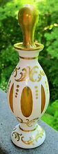 IRICE CZECH ENAMEL WHITE TO AMBER PERFUME/SCENT BOTTLE W GOLD GILD SCROLL DESIGN