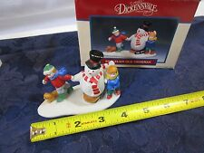 Lemax Dickensvale 1993 Porcelain Our Snowman Skating Pond Kids Dog Figure Box