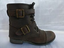 Women's Dolce Vita Leather Lace Up Buckle Strap Ankle Combat Boots - Sz 5.5M