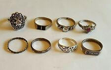 Vintage Estate Lot of 8 Rings Sterling Silver Onyx CZ Marcasite Jewelry