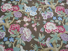 Schumacher Curtain Fabric  'Bermuda Blossom' by Mary McDonald 2.6 METRES Cocoa