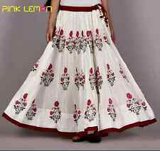 Indian Hand block Printed long gathered Skirt Women's Ethnic Cotton casual #S-37