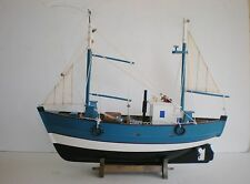 """Old Style Wooden Model Fishing Boat 18"""" Offshore Fishing Vessel On Cradle"""