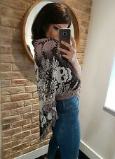 River Island unique skull & lotus flower print with faux fur top shawl scarf!