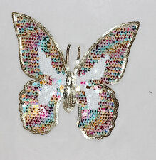 Colored Butterfly -- Sew on Sequin Applique Patch 21*23cm ZD0206
