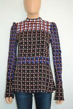 NWT Marni Brown/Multicolored Geometric Mock Neck Long Sleeve Blouse/Top, Sz 38,