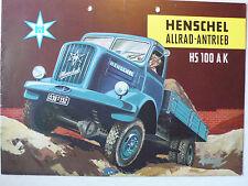 Prospekt Henschel LKW HS 100 AK Allrad-Antrieb, 9.1955, 8 Seiten