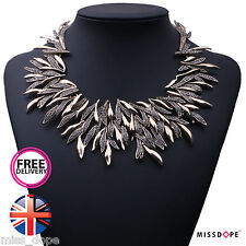 NEW GOLD CRYSTAL LEAF STATEMENT NECKLACE BIB WOMENS LADIES CHOKER ELEGANT LUXURY