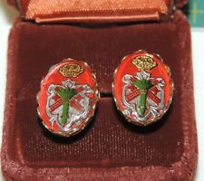 Vintage Heraldic Coat of Arms Crown Family Crest Gold tone Screw Earrings m 49