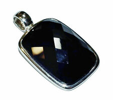 Stamped 925, Sterling Silver & Faceted Black Agate Pendant (Was £70)